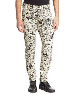 Slim-fit Floral Printed Jeans