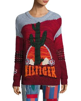 Runway Intarsia Cactus Long Sleeve Sweater