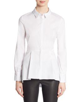 Hidden Placket Long Sleeve Peplum Shirt