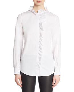 Long Sleeve Ruffled Placket Shirt