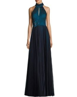 Pleated Halter Gown