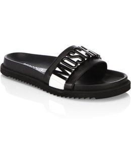 Logo Slide Leather Sandals