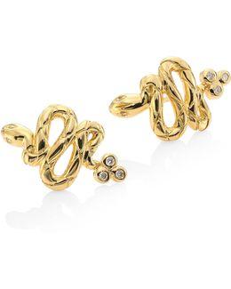 Serpent Diamond & 18k Yellow Gold Stud Earrings