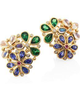 Flower Cluster Diamond & Semi-precious Multi-stone Stud Earrings