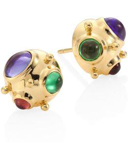 Small Cosmos Semi-precious Multi-stone & 18k Yellow Gold Stud Earrings