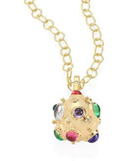 Cosmos Diamond, Semi-precious Multi-stone & 18k Yellow Gold Pendant
