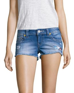 Joey Distrssed Cut-off Denim Shorts/blue Wonder