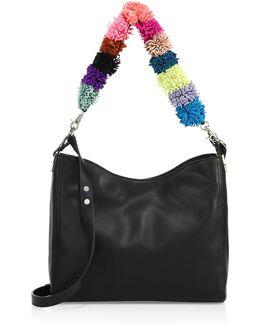 Pom-pom Mini Leather Hobo Bag