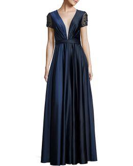 Embellished Deep V-neck Gown