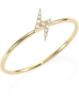 Mini Lightning Bolt Diamond & 14k Yellow Gold Stack Ring