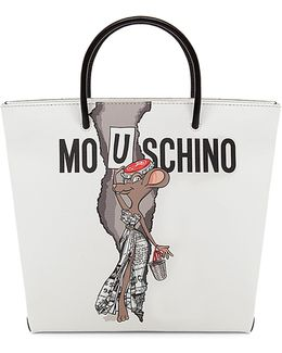 Graphic Faux-leather Shopping Bag