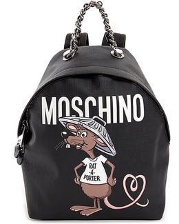 Slogan Faux-leather Backpack