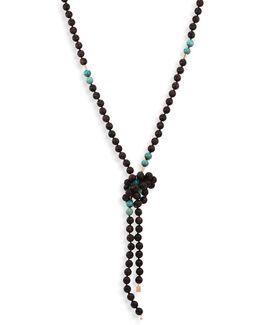 Evene 18k Rose Gold, Ebony & Turquoise Beaded Sautoir Necklace/53