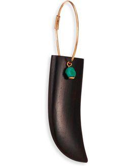 Ebene 18k Rose Gold, Ebony & Turquoise Single Horn Hoop Earring/1.5