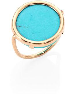 Fallen Sky Turquoise & 18k Rose Gold Disc Ring