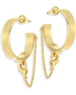 Thin Safety Chain Hoop Earrings/1.75