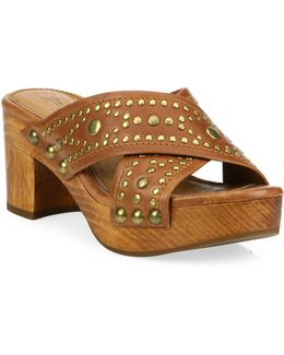 Fiona Deco Leather Studded Slide Sandals