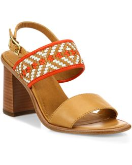 Amy Woven Leather Block Heel Sandals