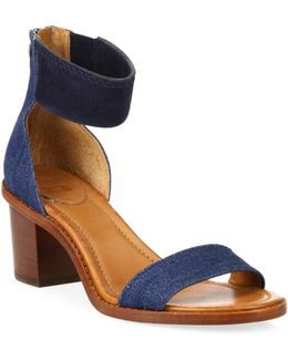 Brielle Demin & Suede Block Heel Sandals
