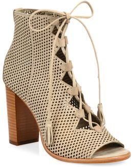 Gabby Perforated Ghillie Lace-up Nubuck Sandals