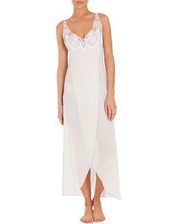 Mist Lace-trim Long Nightgown