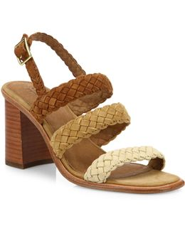 Amy Braided Suede Block Heel Sandals