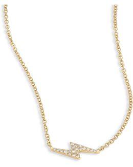 Lightning Bolt Diamond & 14k Yellow Gold Pendant Necklace