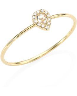 Mini Teardrop Diamond, White Topaz & 14k Yellow Gold Ring