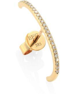 Ultra Huggie Diamond & 14k Yellow Gold Single Earring