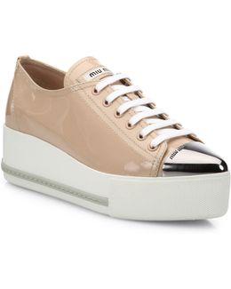 Patent Leather Platform Cap-toe Sneakers