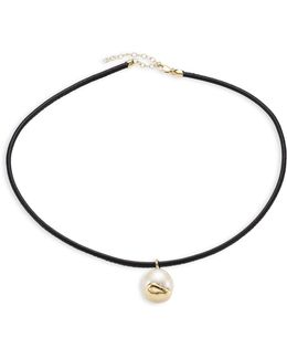 Fluid 10mm White Freshwater Pearl & Thin Leather Choker