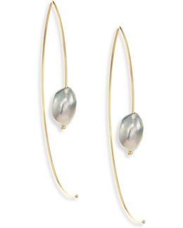 7mm Light Grey Baroque Tahitian Pearl & 14k Yellow Gold Large Open Marquis Earrings