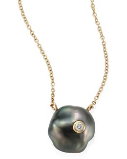 Diamond, 10mm Grey Baroque Tahitian Pearl & 14k Yellow Gold Pendant Necklace