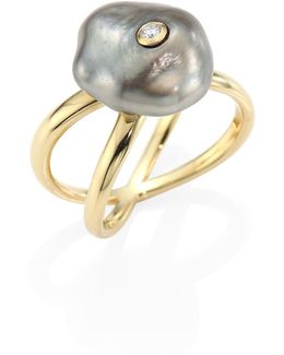 Diamond, 10mm Grey Baroque Tahitian Pearl & 14k Yellow Gold Crossover Ring