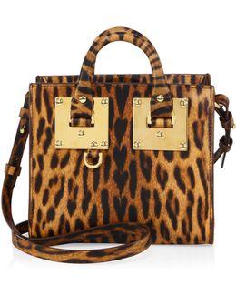Mini Leopard-print Leather Box Tote