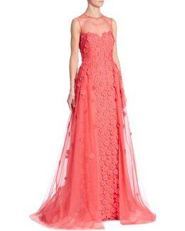 Floral Applique Illusion Gown
