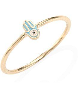 Mini Hamsa Enamel & 14k Yellow Gold Ring