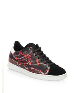 Isabel Snake Printed Leather Sneakers