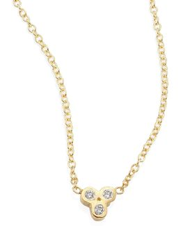 Tiny Trio Diamond & 14k Yellow Gold Pendant Necklace