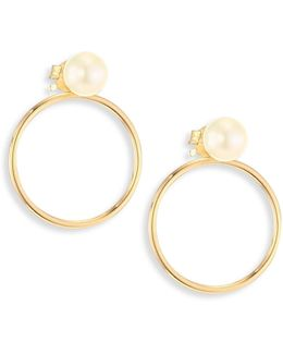 4mm White Cultured Freshwater Pearl Stud & 14k Yellow Gold Circle Ear Jacket Set