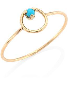 Turquoise & 14k Yellow Gold Circle Ring