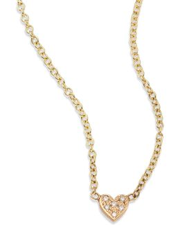 Itty Bitty Heart Diamond & 14k Yellow Gold Pendant Necklace