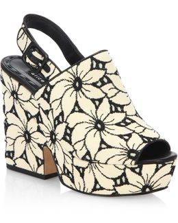 Charlize Floral Lacquered Cork Heel Suede Sandals