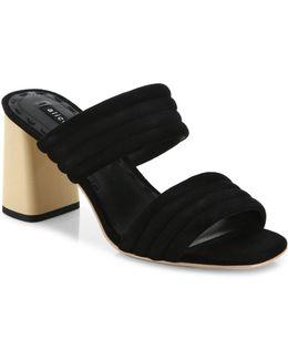 Colby Suede Block Heel Slide Sandals