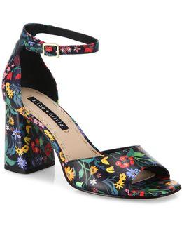 Cooper Floral Leather Block Heel Sandals