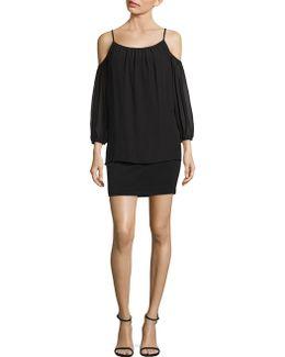 Popover Cold Shoulder Cocktail Dress