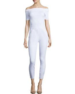 Off-the-shoulder Denim Jumpsuit