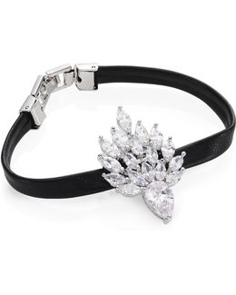 Monarch Mini Flame Crystal & Leather Bracelet