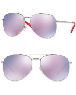 Glamtech 56mm Mirrored Aviator Sunglasses