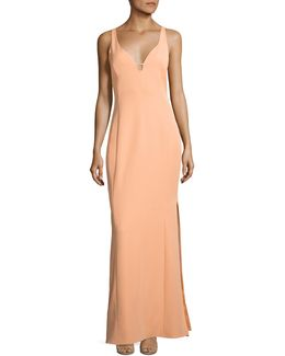 Cutout Stretch Crepe Gown